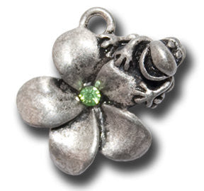 Plumeria Flower with Crystal  KEYRING - Wear Me Out!, Antiqued Silver Plated Pewter Lucky Frog Charm - dog charms, WMO! - Wear Me Out!, Wear Me Out! - mydoglulu