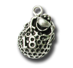 Lucky Golf Ball  KEYRING - Wear Me Out!, Antiqued Silver Plated Pewter Lucky Frog Charm - dog charms, WMO! - Wear Me Out!, Wear Me Out! - mydoglulu