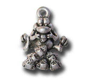 7 Musubis for Luck  KEYRING - Wear Me Out!, Antiqued Silver Plated Pewter Lucky Frog Charm - dog charms, WMO! - Wear Me Out!, Wear Me Out! - mydoglulu