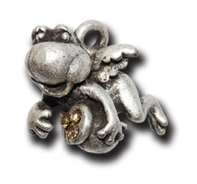 Angel Froggy with Crystals  KEYRING - Wear Me Out!, Antiqued Silver Plated Pewter Lucky Frog Charm - dog charms, WMO! - Wear Me Out!, Wear Me Out! - mydoglulu