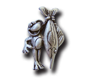 Lucky Fisherman  KEYRING - Wear Me Out!, Antiqued Silver Plated Pewter Lucky Frog Charm - dog charms, WMO! - Wear Me Out!, Wear Me Out! - mydoglulu