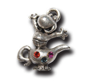 Genie Froggy with Crystals  KEYRING - Wear Me Out!, Antiqued Silver Plated Pewter Lucky Frog Charm - dog charms, WMO! - Wear Me Out!, Wear Me Out! - mydoglulu