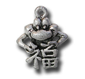 Good Luck Kanji  KEYRING - Wear Me Out!, Antiqued Silver Plated Pewter Lucky Frog Charm - dog charms, WMO! - Wear Me Out!, Wear Me Out! - mydoglulu
