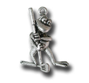 Supa Lucky Golfer  KEYRING - Wear Me Out!, Antiqued Silver Plated Pewter Lucky Frog Charm - dog charms, WMO! - Wear Me Out!, Wear Me Out! - mydoglulu