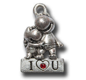 i love you with Crystal  KEYRING - Wear Me Out!, Antiqued Silver Plated Pewter Lucky Frog Charm - dog charms, WMO! - Wear Me Out!, Wear Me Out! - mydoglulu