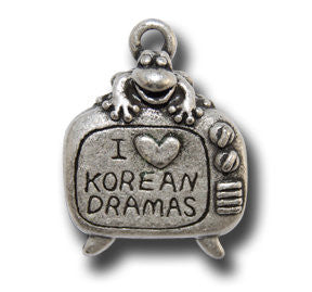 I Love Korean Dramas  KEYRING - Wear Me Out!, Antiqued Silver Plated Pewter Lucky Frog Charm - dog charms, WMO! - Wear Me Out!, Wear Me Out! - mydoglulu