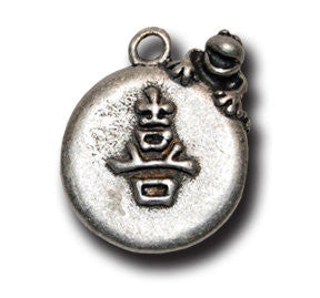 """koufuku"" Happiness Kanji  KEYRING - Wear Me Out!, Antiqued Silver Plated Pewter Lucky Frog Charm - dog charms, WMO! - Wear Me Out!, Wear Me Out! - mydoglulu"
