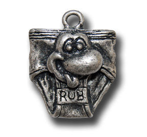 Lucky Underwear  KEYRING - Wear Me Out!, Antiqued Silver Plated Pewter Lucky Frog Charm - dog charms, WMO! - Wear Me Out!, Wear Me Out! - mydoglulu