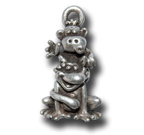 Zodiac - - Monkey  KEYRING - Wear Me Out!, Antiqued Silver Plated Pewter Lucky Frog Charm - dog charms, WMO! - Wear Me Out!, Wear Me Out! - mydoglulu