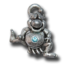 SUMO size LUCKY with Crystal  KEYRING - Wear Me Out!, Antiqued Silver Plated Pewter Lucky Frog Charm - dog charms, WMO! - Wear Me Out!, Wear Me Out! - mydoglulu