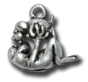 Zodiac - - Dog  KEYRING - Wear Me Out!, Antiqued Silver Plated Pewter Lucky Frog Charm - dog charms, WMO! - Wear Me Out!, Wear Me Out! - mydoglulu