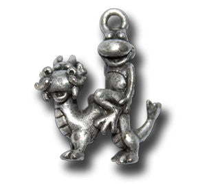 Zodiac - - Dragon  KEYRING - Wear Me Out!, Antiqued Silver Plated Pewter Lucky Frog Charm - dog charms, WMO! - Wear Me Out!, Wear Me Out! - mydoglulu