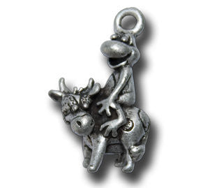 Zodiac -- Ox  KEYRING - Wear Me Out!, Antiqued Silver Plated Pewter Lucky Frog Charm - dog charms, WMO! - Wear Me Out!, Wear Me Out! - mydoglulu