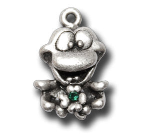 Lucky 4 Leaf Clover with Crystal  KEYRING - Wear Me Out!, Antiqued Silver Plated Pewter Lucky Frog Charm - dog charms, WMO! - Wear Me Out!, Wear Me Out! - mydoglulu