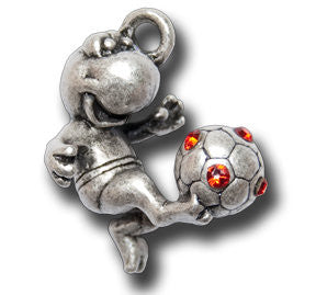 Lucky Soccer Player with Crystals  KEYRING - Wear Me Out!, Antiqued Silver Plated Pewter Lucky Frog Charm - dog charms, WMO! - Wear Me Out!, Wear Me Out! - mydoglulu