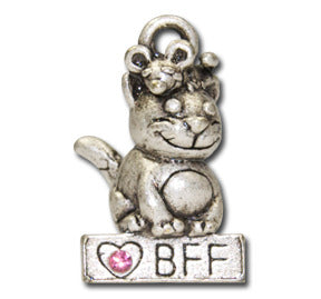 I Love My BFF  KEYRING - Wear Me Out!, Antiqued Silver Plated Pewter Cutie Cat Charm  - dog charms, WMO! - Wear Me Out!, Wear Me Out! - mydoglulu