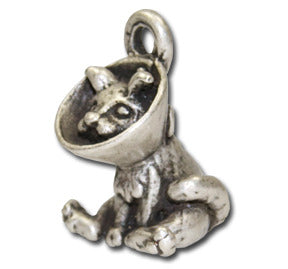 Cone Cat Cutie!  KEYRING - Wear Me Out!, Antiqued Silver Plated Pewter Cutie Cat Charm  - dog charms, WMO! - Wear Me Out!, Wear Me Out! - mydoglulu