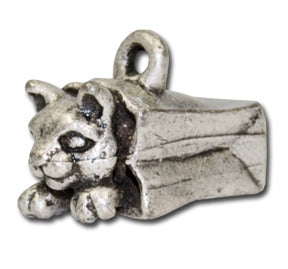 Cat in the Bag  KEYRING - Wear Me Out!, Antiqued Silver Plated Pewter Cutie Cat Charm  - dog charms, WMO! - Wear Me Out!, Wear Me Out! - mydoglulu