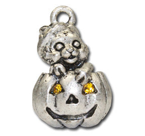 Pumpkin Cat Cutie  KEYRING - Wear Me Out!, Antiqued Silver Plated Pewter Cutie Cat Charm  - dog charms, WMO! - Wear Me Out!, Wear Me Out! - mydoglulu