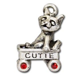 Cutie Cat Wagon  KEYRING - Wear Me Out!, Antiqued Silver Plated Pewter Cutie Cat Charm  - dog charms, WMO! - Wear Me Out!, Wear Me Out! - mydoglulu