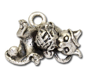 Kitty Kat Yarn  KEYRING - Wear Me Out!, Antiqued Silver Plated Pewter Cutie Cat Charm  - dog charms, WMO! - Wear Me Out!, Wear Me Out! - mydoglulu