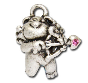 Doggie Cupid  KEYRING - Wear Me Out!, Antiqued Silver Plated Pewter Doggie Charm - dog charms, WMO! - Wear Me Out!, Wear Me Out! - mydoglulu