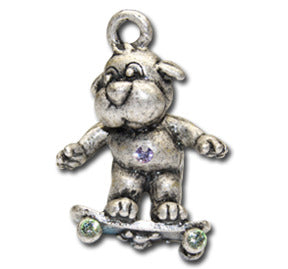 Skateboard Doggie!  KEYRING - Wear Me Out!, Antiqued Silver Plated Pewter Doggie Charm - dog charms, WMO! - Wear Me Out!, Wear Me Out! - mydoglulu