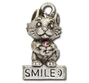 SMILE :)   KEYRING - Wear Me Out!, Antiqued Silver Plated Pewter Cutie Cat Charm  - dog charms, WMO! - Wear Me Out!, Wear Me Out! - mydoglulu