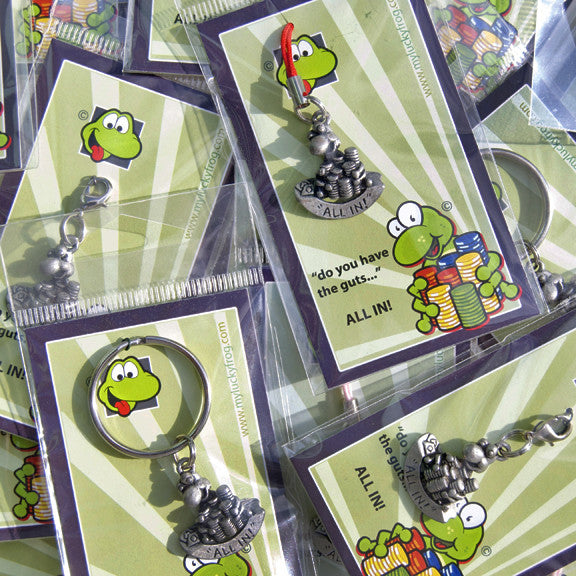 """do you have the guts ...""  ALL IN!  KEYRING - Wear Me Out!, Antiqued Silver Plated Pewter Lucky Frog Charm - dog charms, WMO! - Wear Me Out!, Wear Me Out! - mydoglulu"