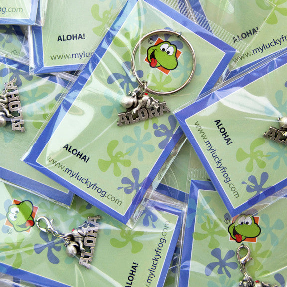 ALOHA! with Crystal  KEYRING - Wear Me Out!, Antiqued Silver Plated Pewter Lucky Frog Charm - dog charms, WMO! - Wear Me Out!, Wear Me Out! - mydoglulu