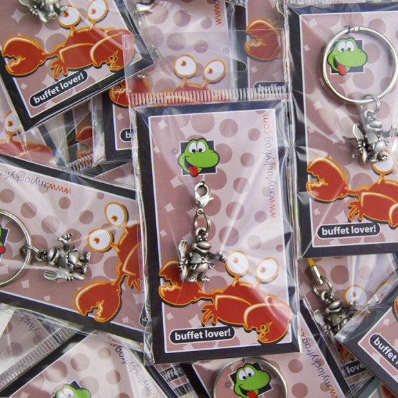 Buffet Lover!  KEYRING - Wear Me Out!, Antiqued Silver Plated Pewter Lucky Frog Charm - dog charms, myluckyfrog - Wear Me Out!, Wear Me Out! - mydoglulu