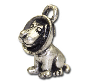 Cone Head Cutie!  KEYRING - Wear Me Out!, Antiqued Silver Plated Pewter Doggie Charm - dog charms, WMO! - Wear Me Out!, Wear Me Out! - mydoglulu