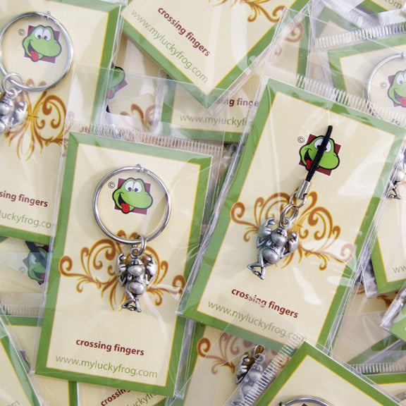 Crossing Fingers  KEYRING - Wear Me Out!, Antiqued Silver Plated Pewter Lucky Frog Charm - dog charms, WMO! - Wear Me Out!, Wear Me Out! - mydoglulu