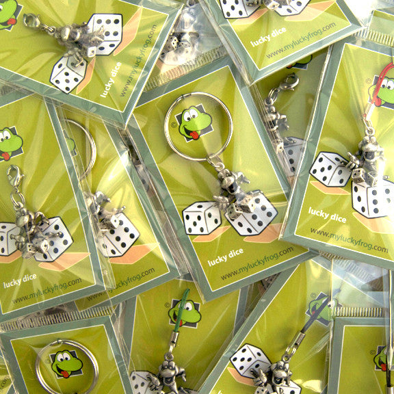 Lucky Dice  KEYRING - Wear Me Out!, Antiqued Silver Plated Pewter Lucky Frog Charm - dog charms, WMO! - Wear Me Out!, Wear Me Out! - mydoglulu