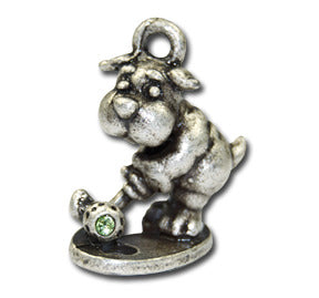 Golf Doggie!  KEYRING - Wear Me Out!, Antiqued Silver Plated Pewter Doggie Charm - dog charms, WMO! - Wear Me Out!, Wear Me Out! - mydoglulu