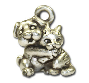 Give Hugs!  KEYRING - Wear Me Out!, Antiqued Silver Plated Pewter Doggie Charm - dog charms, WMO! - Wear Me Out!, Wear Me Out! - mydoglulu
