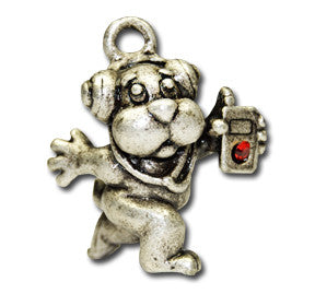iLuLu  KEYRING - Wear Me Out!, Antiqued Silver Plated Pewter Doggie Charm - dog charms, WMO! - Wear Me Out!, Wear Me Out! - mydoglulu