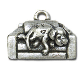 Lazzzy Dog Daze  KEYRING - Wear Me Out!, Antiqued Silver Plated Pewter Doggie Charm - dog charms, WMO! - Wear Me Out!, Wear Me Out! - mydoglulu