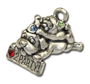 Love 2 Party!  KEYRING - Wear Me Out!, Antiqued Silver Plated Pewter Doggie Charm - dog charms, WMO! - Wear Me Out!, Wear Me Out! - mydoglulu