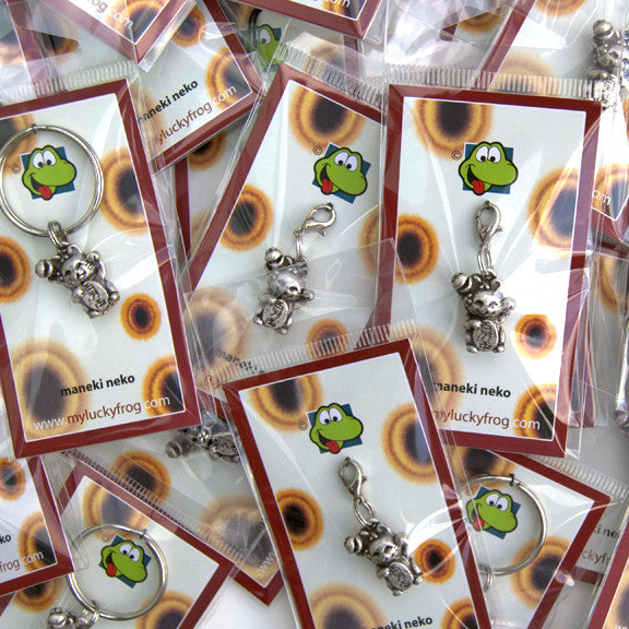 Maneki Neko  KEYRING - Wear Me Out!, Antiqued Silver Plated Pewter Lucky Frog Charm - dog charms, WMO! - Wear Me Out!, Wear Me Out! - mydoglulu