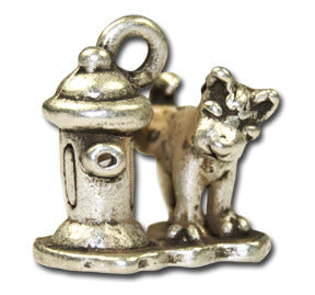 Pee Doggie!  KEYRING - Wear Me Out!, Antiqued Silver Plated Pewter Doggie Charm - dog charms, WMO! - Wear Me Out!, Wear Me Out! - mydoglulu