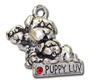 Puppy Love!  KEYRING - Wear Me Out!, Antiqued Silver Plated Pewter Doggie Charm - dog charms, WMO! - Wear Me Out!, Wear Me Out! - mydoglulu