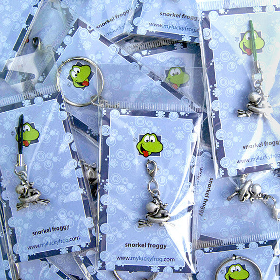 Snorkel Froggy  KEYRING - Wear Me Out!, Antiqued Silver Plated Pewter Lucky Frog Charm - dog charms, WMO! - Wear Me Out!, Wear Me Out! - mydoglulu