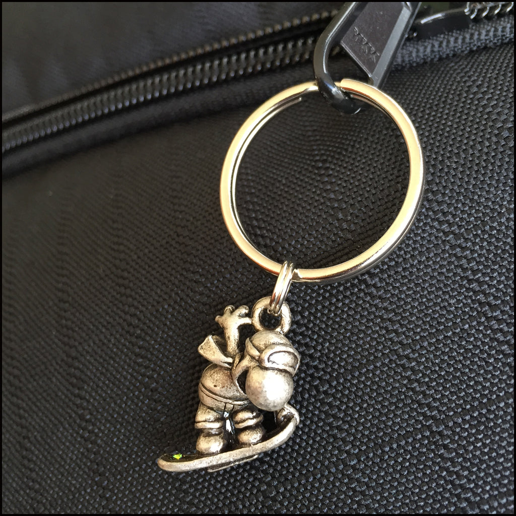 Snowboarder KEYRING - Wear Me Out!, Antiqued Silver Plated Pewter Lucky Frog Charm - dog charms, Wear Me Out! - Wear Me Out!, Wear Me Out! - mydoglulu