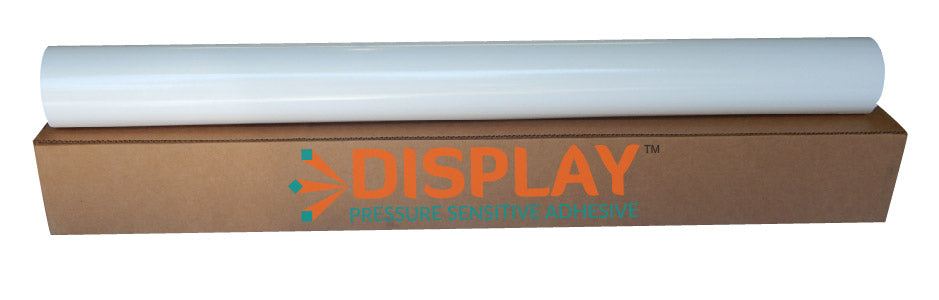 DISPLAY - Calendared Gloss White Economy Vinyl, Clear Permanent Adhesive 3.4mil, 80# Liner - 54