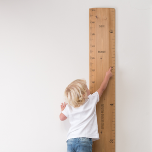 Personalised ruler height chart with loved beyond measure as well as mummy and daddy at their heights