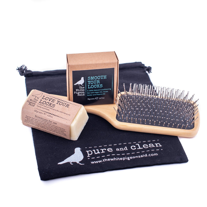 Eco Hair Care Pack | Shampoo Bar | Conditioner Bar | Wooden Hairbrush | Plastic Free | Zero Waste | Hand Crafted | Natural Hair Care | Best Hairbrush | Mornington Peninsula|