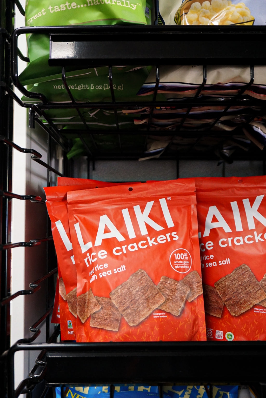 Laiki Red Rice Crackers 3.5 oz Pouch - Westport