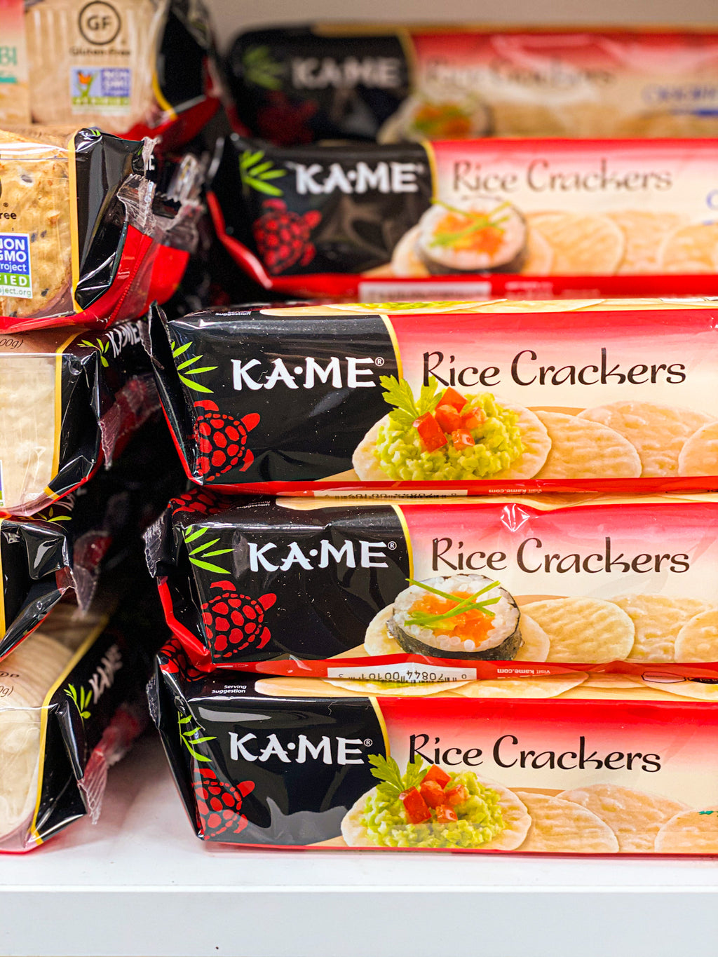 packs of kame rice crackers
