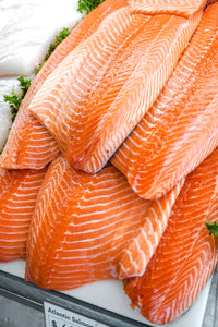 Stack of Hand-Cut Atlantic Salmon Fillets